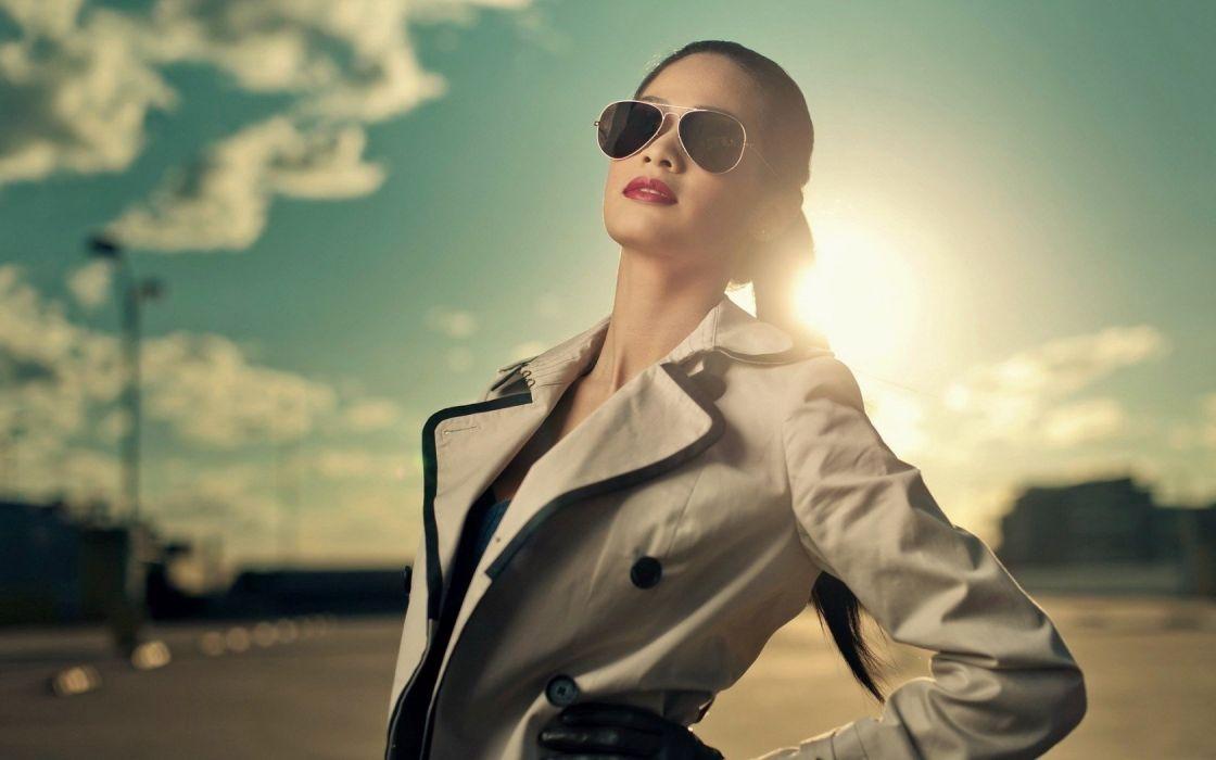 light brunettes women Sun gloves models jackets aviator glasses wallpaper