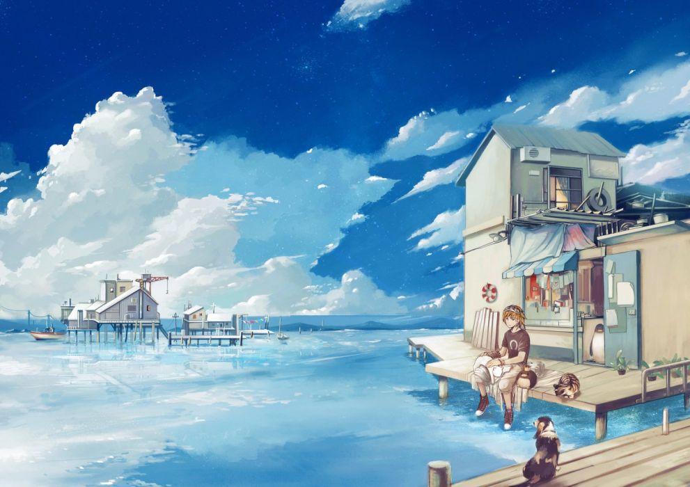 animal boat building cat clouds dog hana nama male original penguin scenic sky water wallpaper