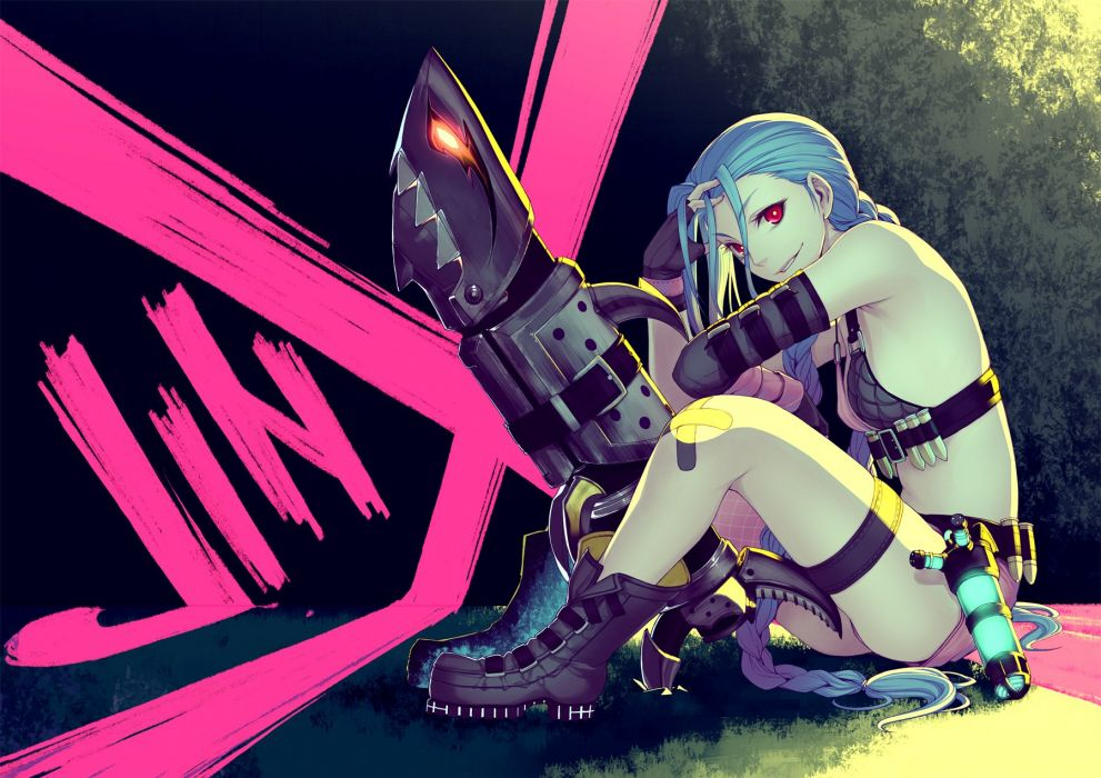bandaid blue hair boots braids graffiti gun jinx (league of legends) kimura daisuke league of legends long hair red eyes shorts weapon wallpaper