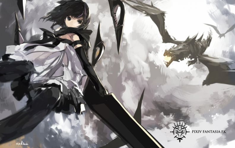 black eyes brown hair dragon dress elbow gloves pixiv fantasia scarf short hair signed swd3e2 wallpaper