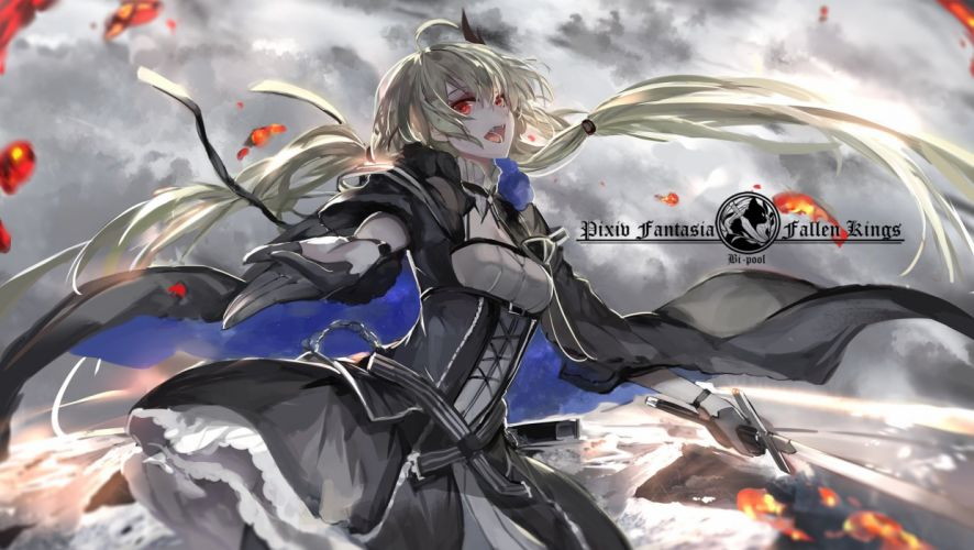 blonde hair blood dress fang gloves long hair pixiv fantasia red eyes saberiii sword twintails vampire weapon wallpaper