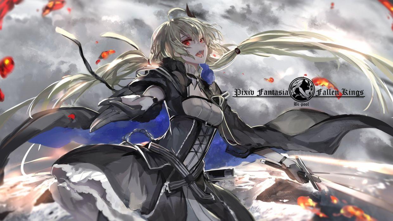 blonde hair blood dress fang gloves long hair pixiv fantasia red eyes saberiii sword twintails vampire weapon wallpaper