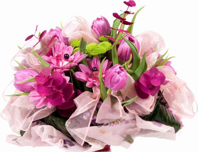 bouquet ribbon bow flower wallpaper
