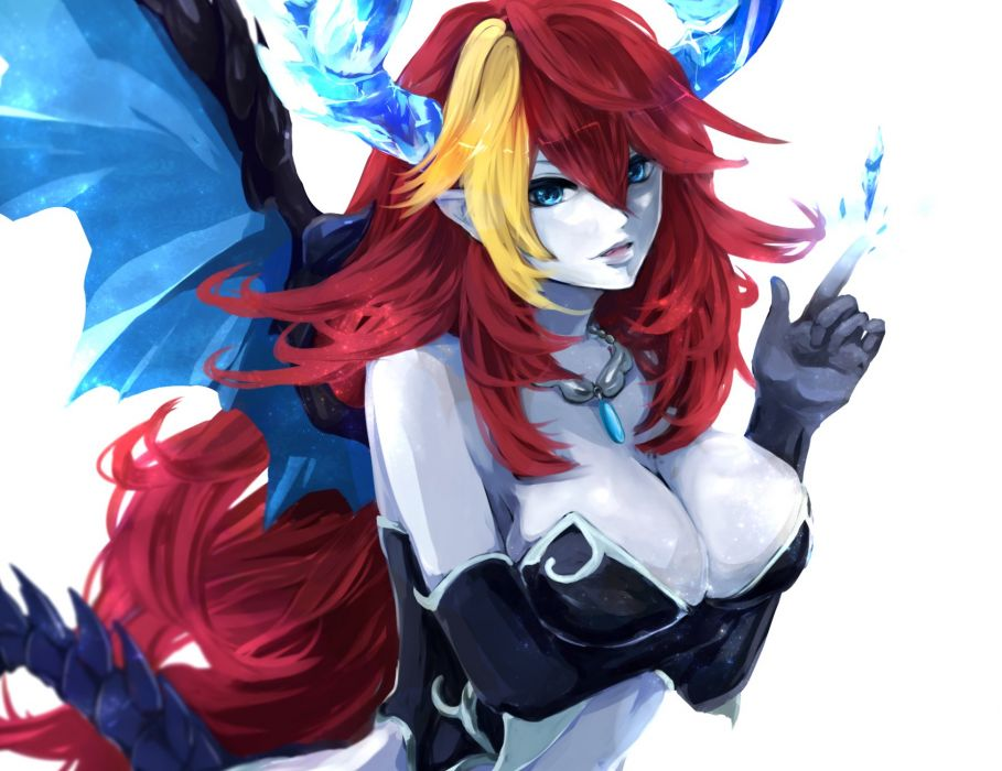 breasts cleavage elbow gloves hera (p&d) horns kuroame necklace puzzle & dragons red hair wings wallpaper