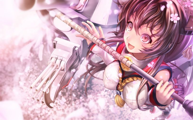 brown eyes brown hair cherry blossoms flowers kantai collection pakupaku choppu petals red eyes weapon yamato (kancolle) wallpaper