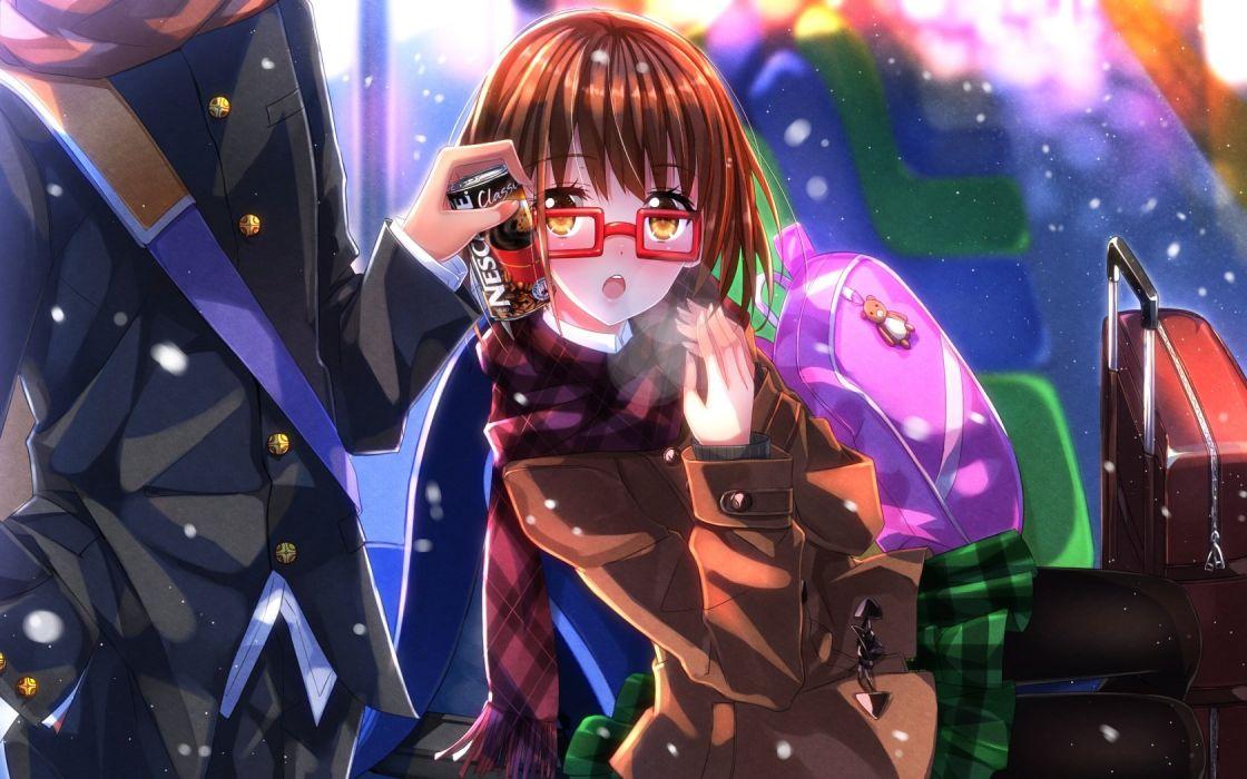 brown hair drink glasses miho (cross road) seifuku shouta snow swordsouls z-kai- cross road wallpaper