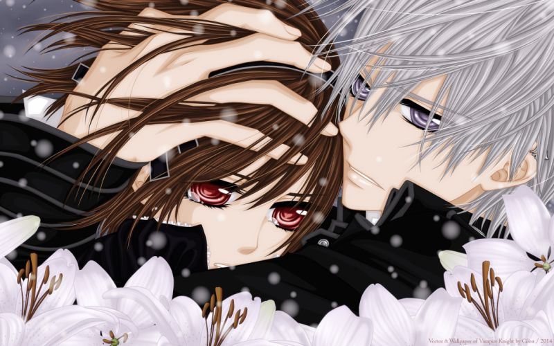 brown hair flowers kiryu zero red eyes tagme tears vampire vampire knight yuuki cross wallpaper