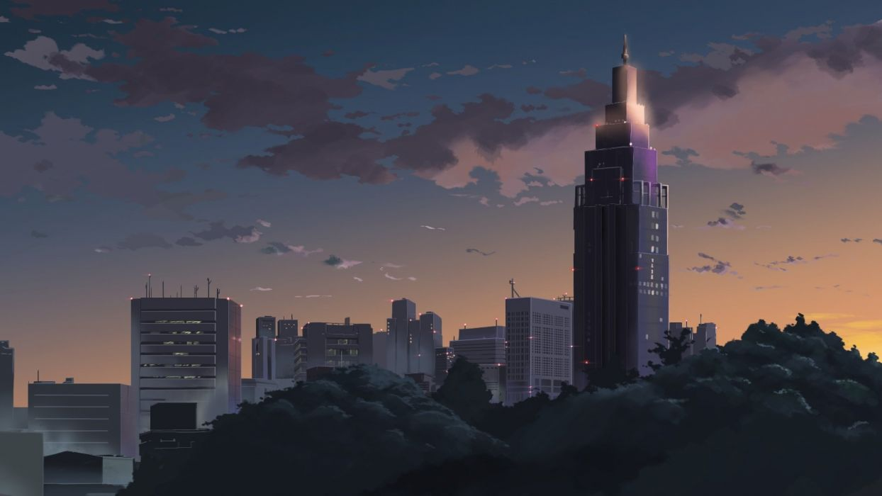 building city clouds forest nobody sasaki112 scenic sky tree wallpaper