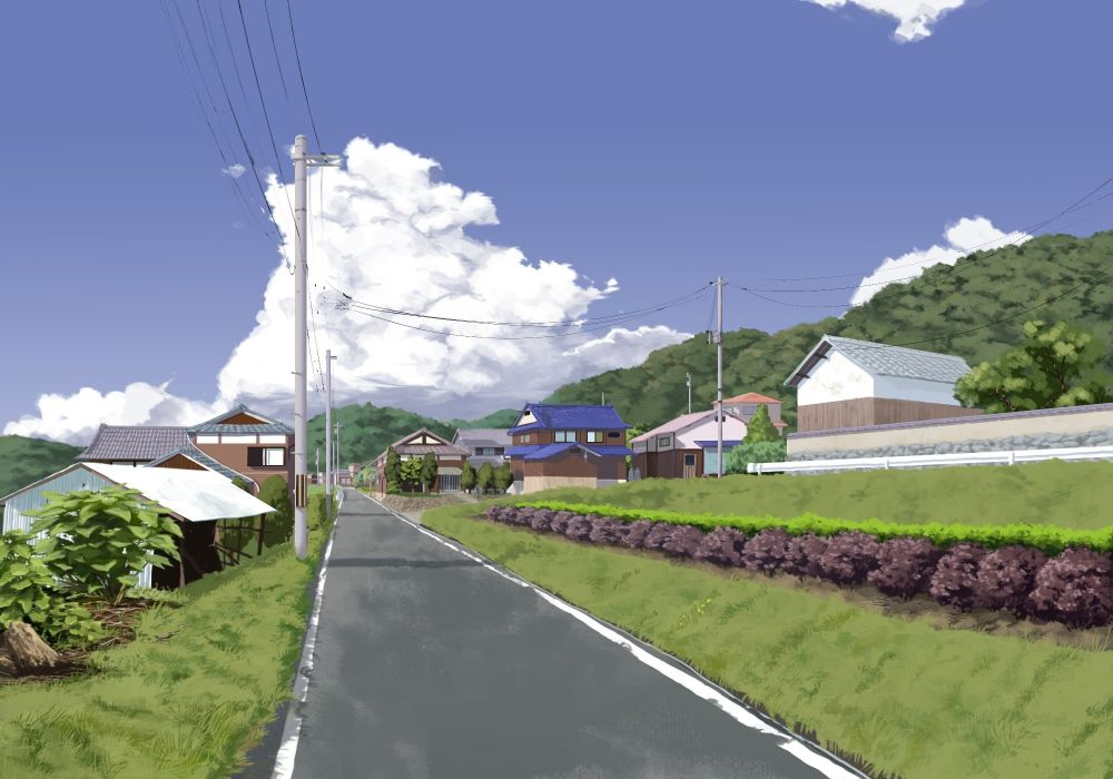 building clouds grass nobody original sasaki112 scenic sky tree wallpaper