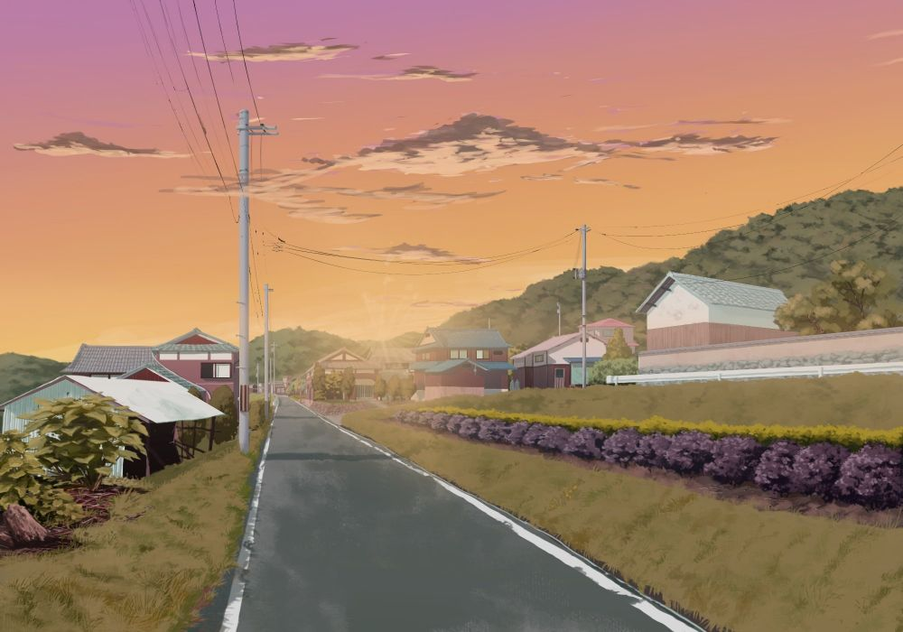 building clouds grass nobody original sasaki112 scenic sky sunset tree wallpaper