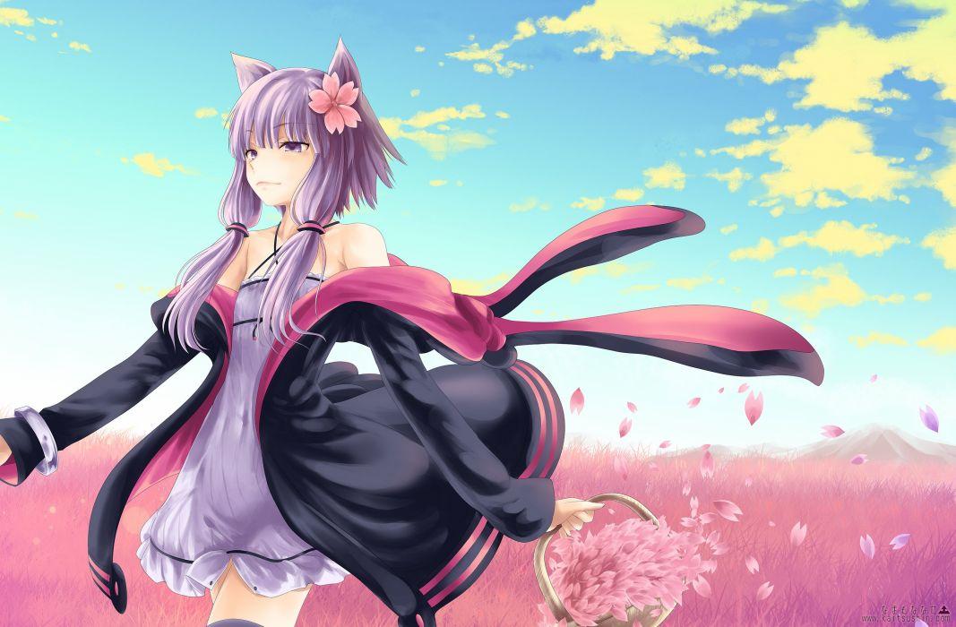 catgirl clouds dress long hair namamo nanase petals purple eyes purple hair sky thighhighs vocaloid yuzuki yukari wallpaper