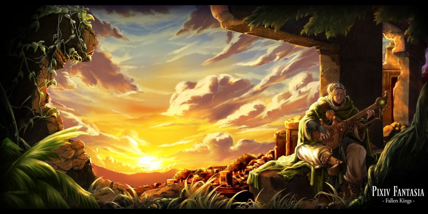 clouds grass instrument itkz (pixiv) male pixiv fantasia ruins scenic sky sunset wallpaper