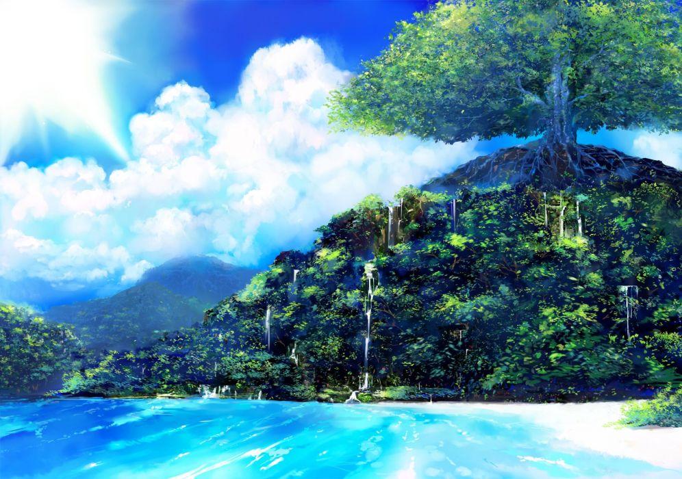 clouds forest landscape matsumoto noriyuki nobody original scenic sky tree water waterfall wallpaper