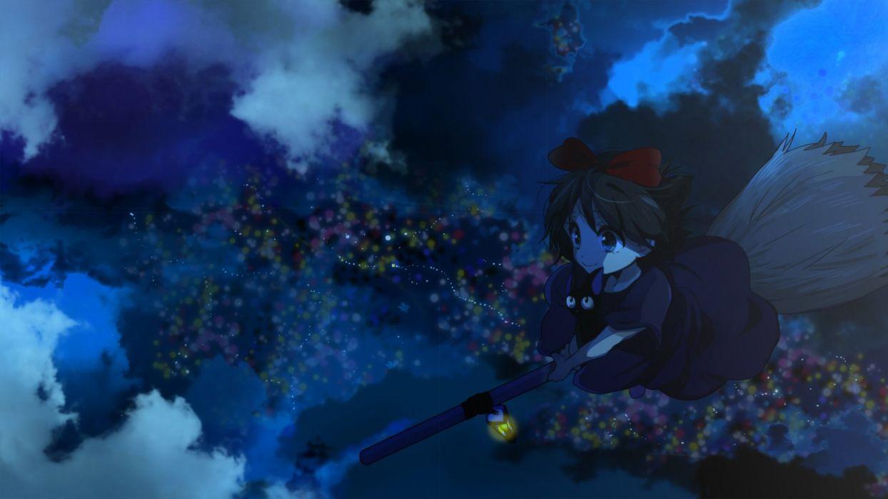 clouds jiji (character) kiki majo no takkyuubin marirero a night wallpaper