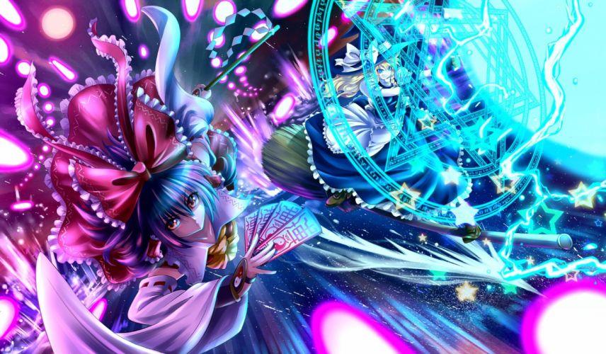 girls blonde hair blue eyes bow braids dress hakurei reimu hat hijikawa arashi long hair magic miko ofuda purple hair red eyes touhou witch wallpaper