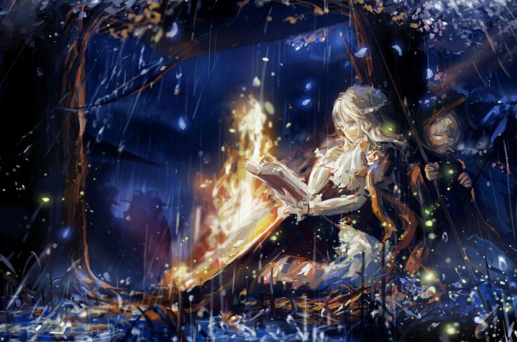 girls book brown hair fairy fire grass gray eyes gray hair leaves pixiv fantasia rain stu dts tree water wallpaper