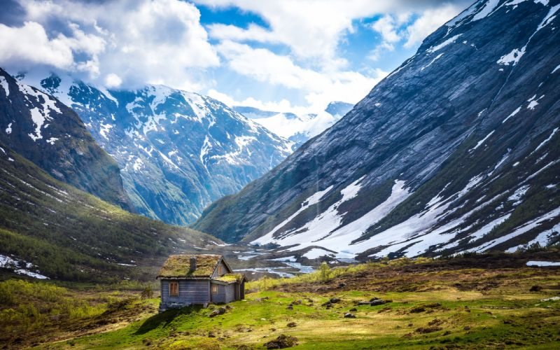 house plain norway snow mountains wallpaper
