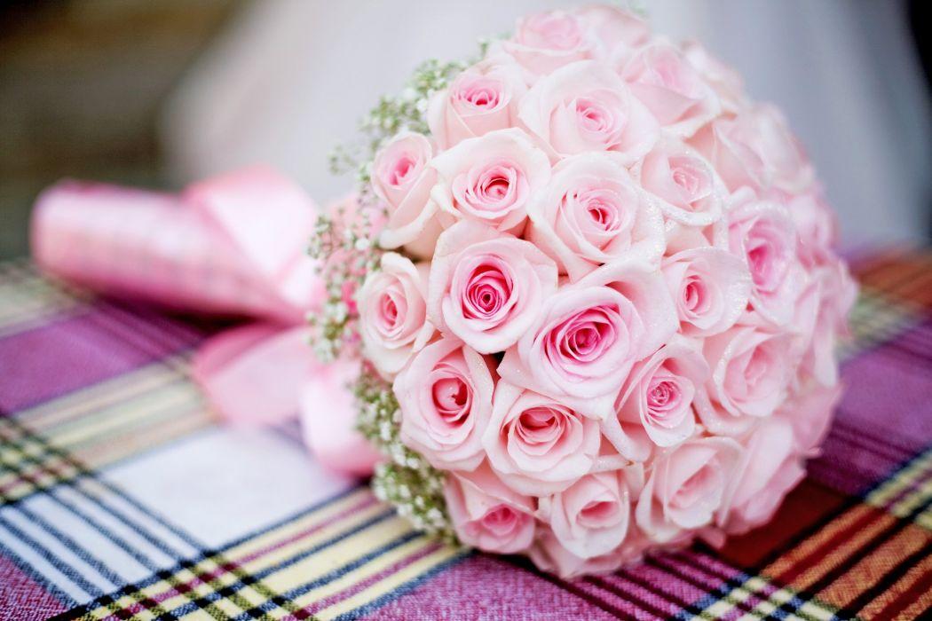 pink bouquet roses wedding wallpaper