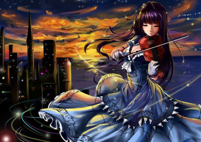 Violin kinven Dress Anime Girls original mood city bikeh wallpaper
