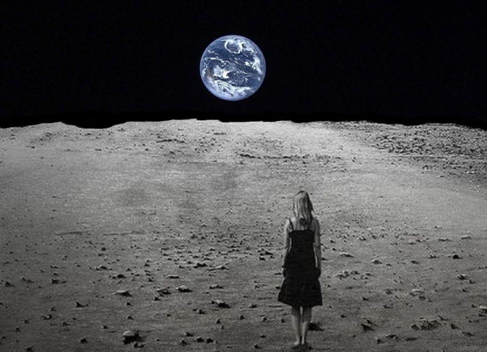 Girl on the moon ___ wallpaper