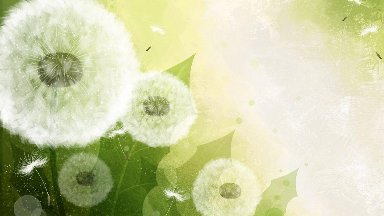 green dandelions vector art wallpaper