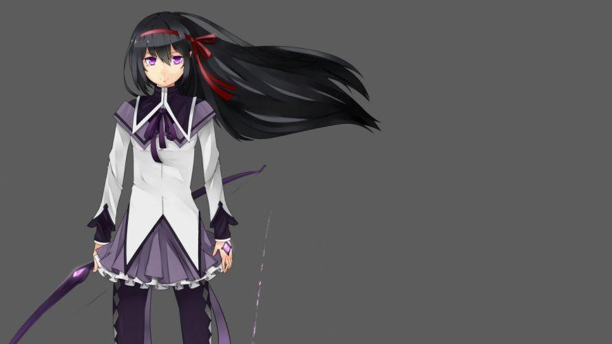 brunettes school uniforms Mahou Shoujo Madoka Magica anime Akemi Homura anime girls bow (weapon) wallpaper
