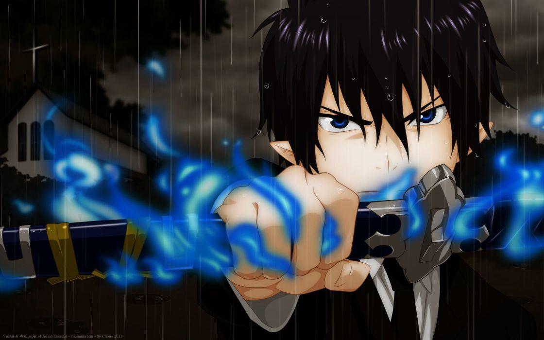brunettes flames anime anime boys Ao no Exorcist Okumura Rin swords wallpaper