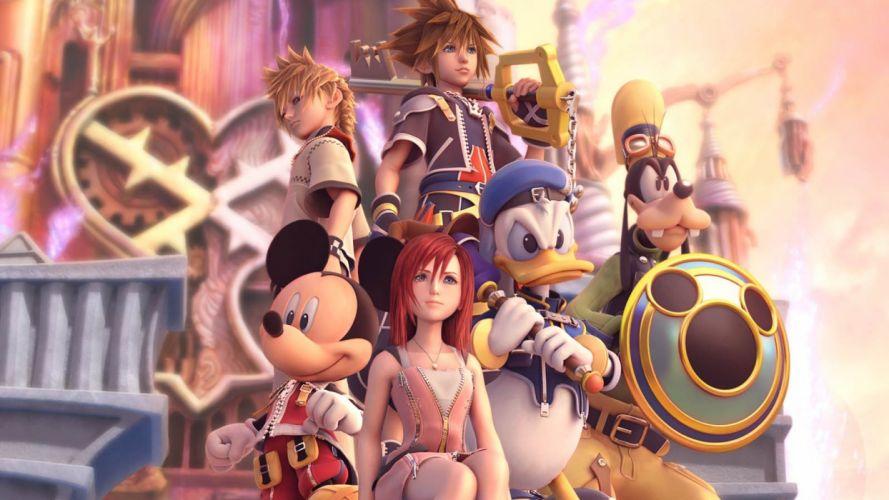 video games Kingdom Hearts Disney Company Sora (Kingdom Hearts) Kairi Goofy Mickey Mouse Donald Duck Roxas wallpaper
