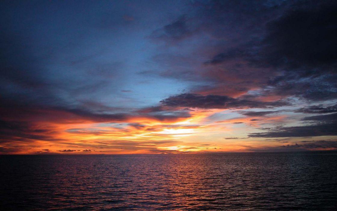 sunset clouds sea wallpaper