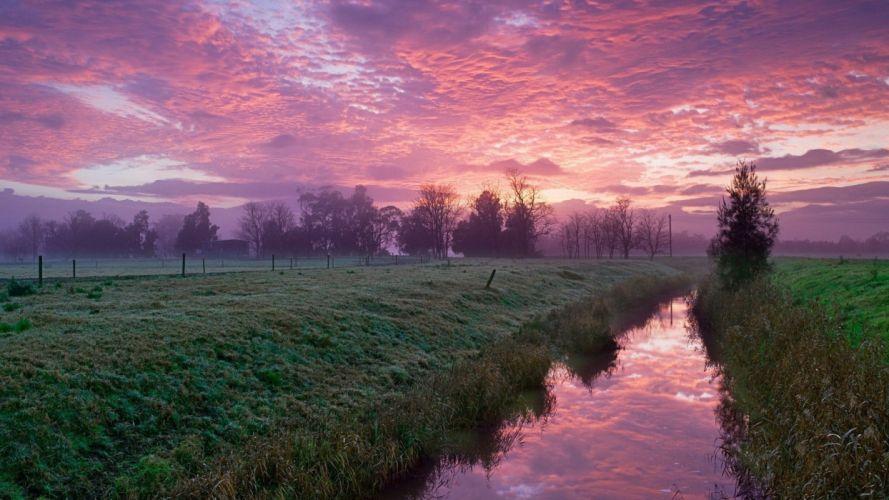 sunset clouds rivers wallpaper