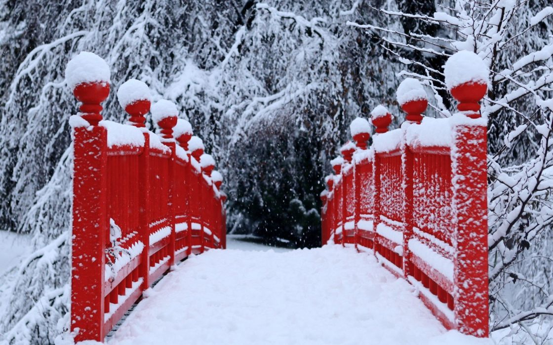 winter snow trees red bridges wallpaper