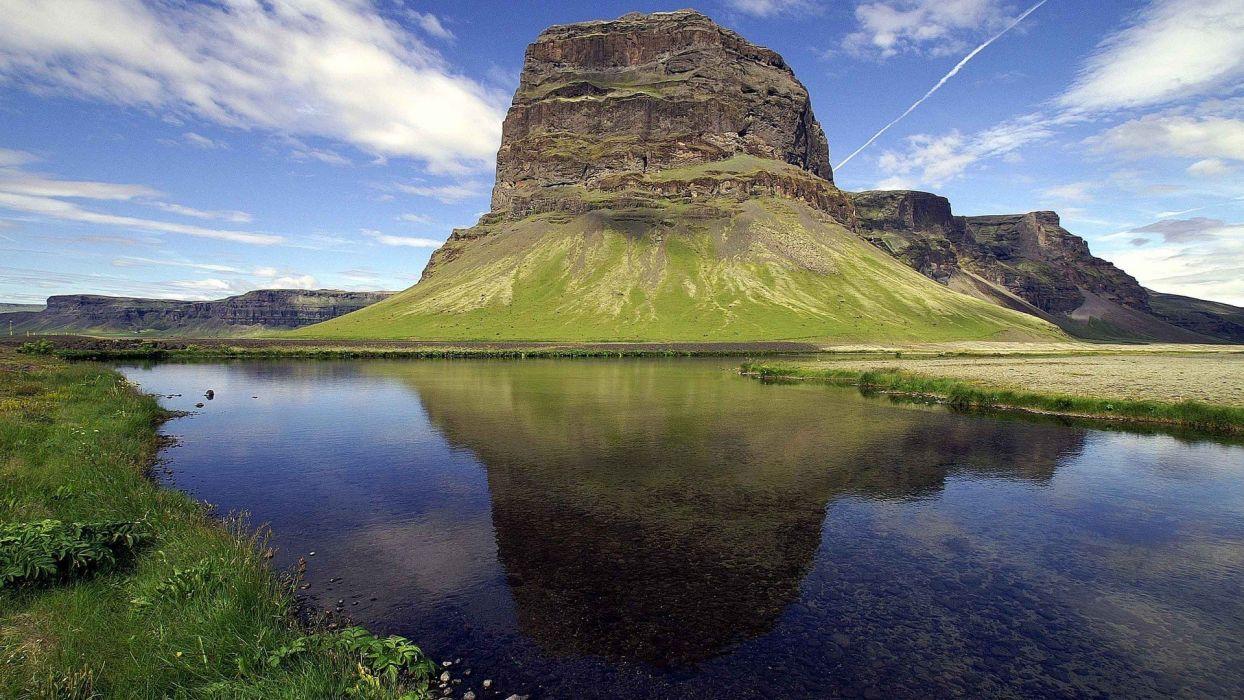 water mountains grass wallpaper
