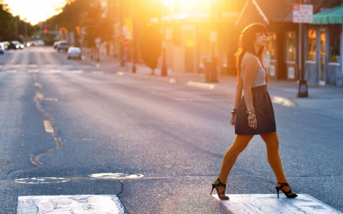 women sunset high heels roads wallpaper