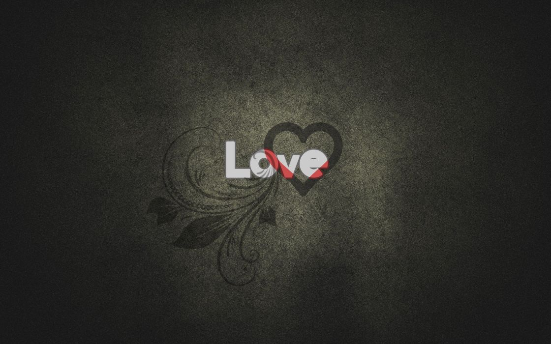 abstract love text hearts wallpaper