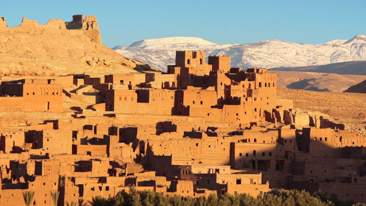 sunrise mountains cityscapes architecture buildings Morocco wallpaper