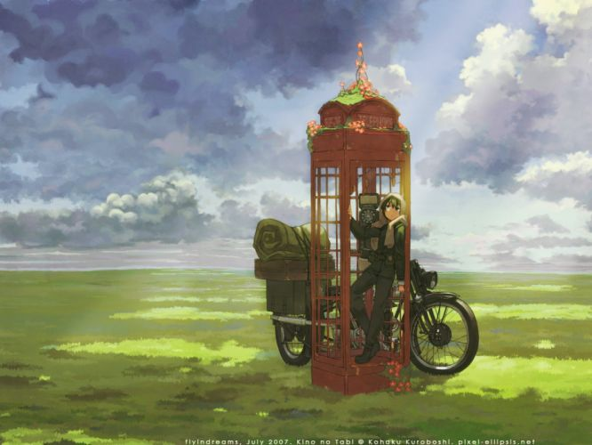 fields Kino no Tabi vehicles motorbikes phone booth wallpaper