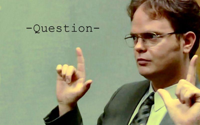 The Office Dwight Schrute Rainn Wilson question wallpaper