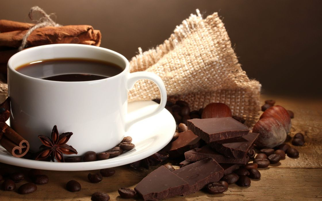coffee chocolate food coffee cups beans wallpaper