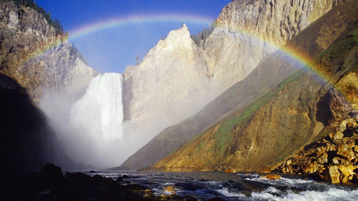 falls Wyoming Yellowstone National Park wallpaper