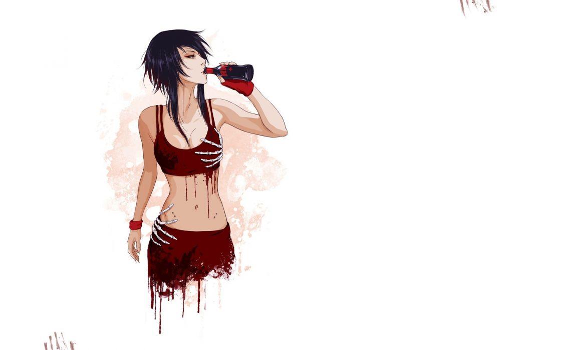 women blood vampires artwork simple background drinking white background wallpaper
