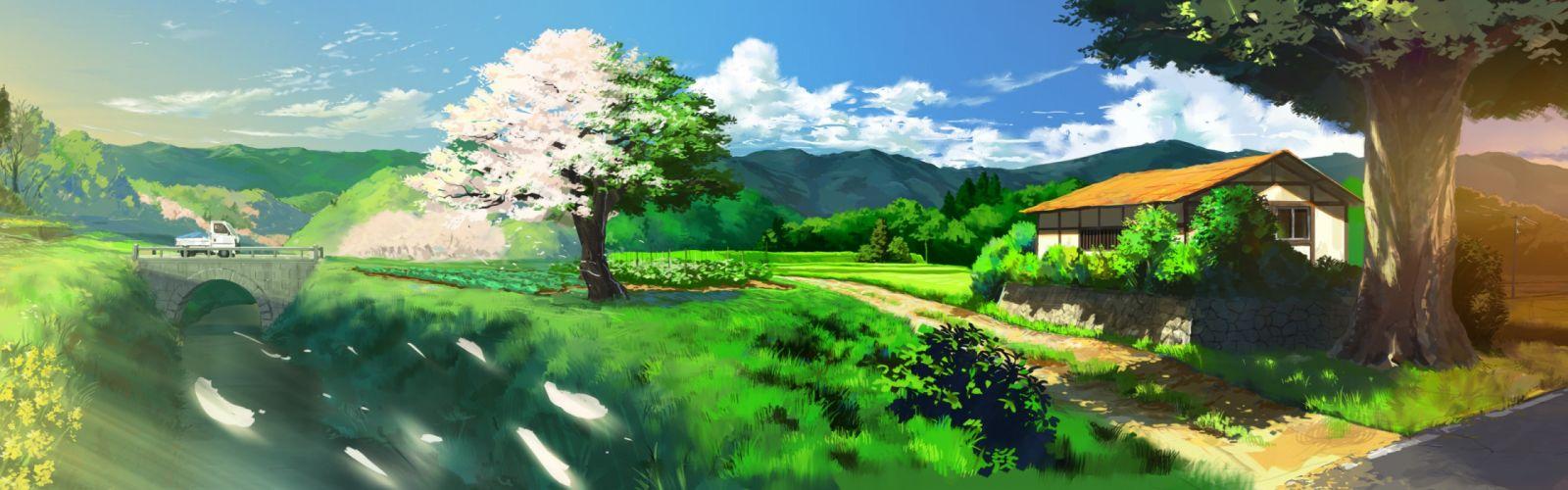 Japan trees cars grass bridges outdoors scenic multiscreen wallpaper