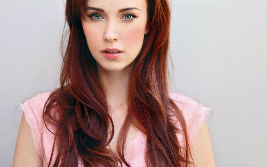 women blue eyes redheads Elyse Levesque wallpaper