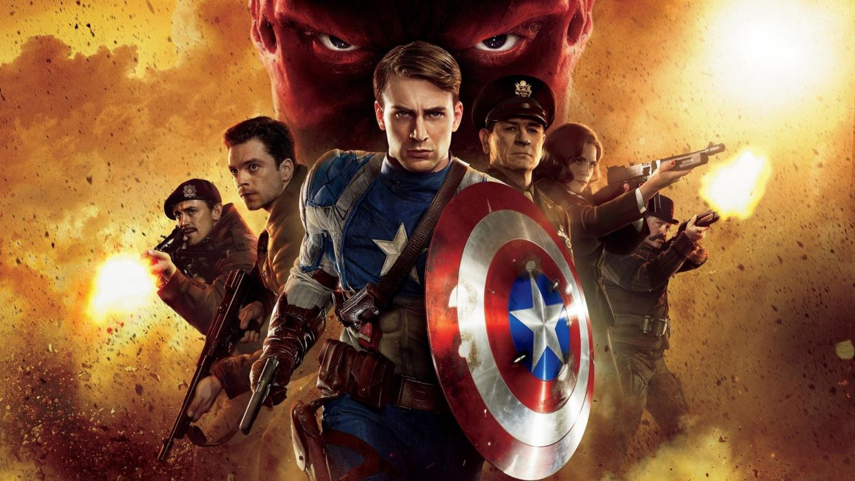 Captain America Chris Evans Red Skull Tommy Lee Jones Captain America: The First Avenger wallpaper