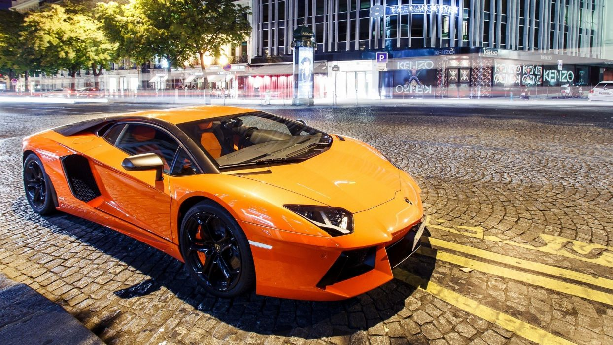 streets night cars orange Lamborghini vehicles Lamborghini Gallardo cities Lamborghini Gallardo LP560-4 Gallardo automobile LP560 wallpaper