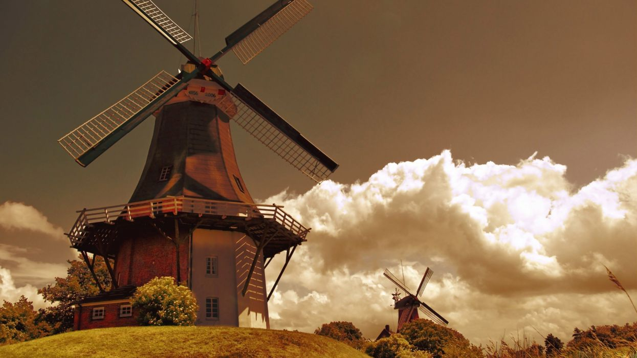 clouds mill Holland windmills The Netherlands wallpaper