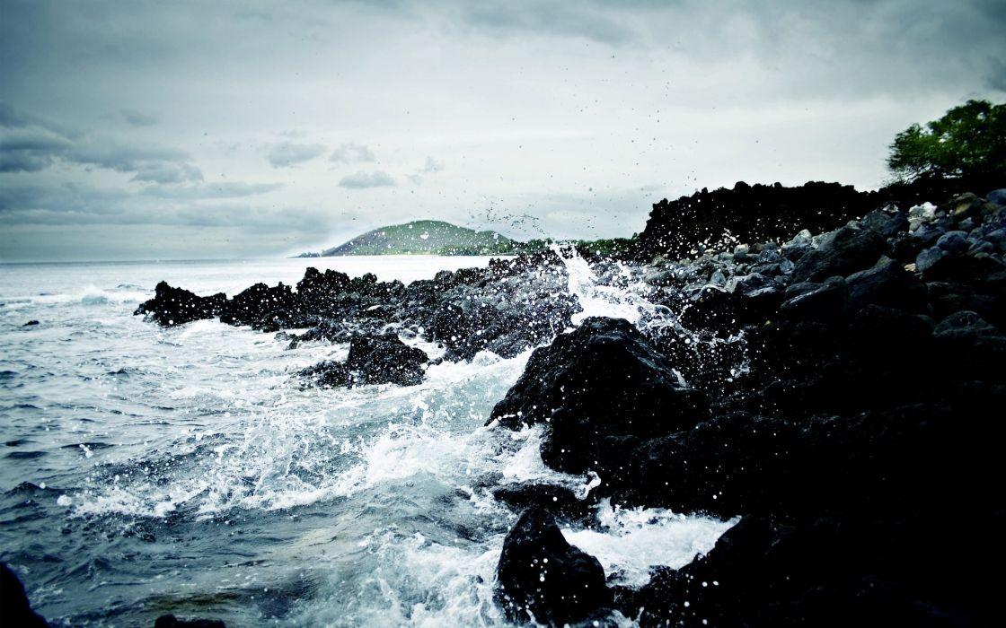 water waves rocks shore ripples splashes sea wallpaper