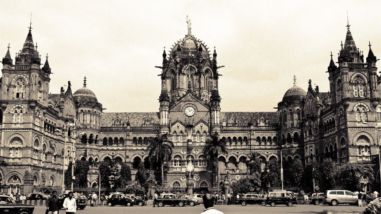 cars architecture buildings crowd train stations grayscale Mumbai AIA wallpaper