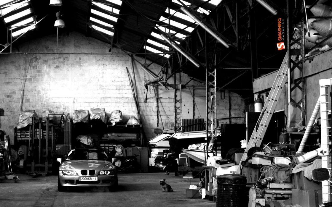 boats monochrome drydocks BMW Z3 garage wallpaper
