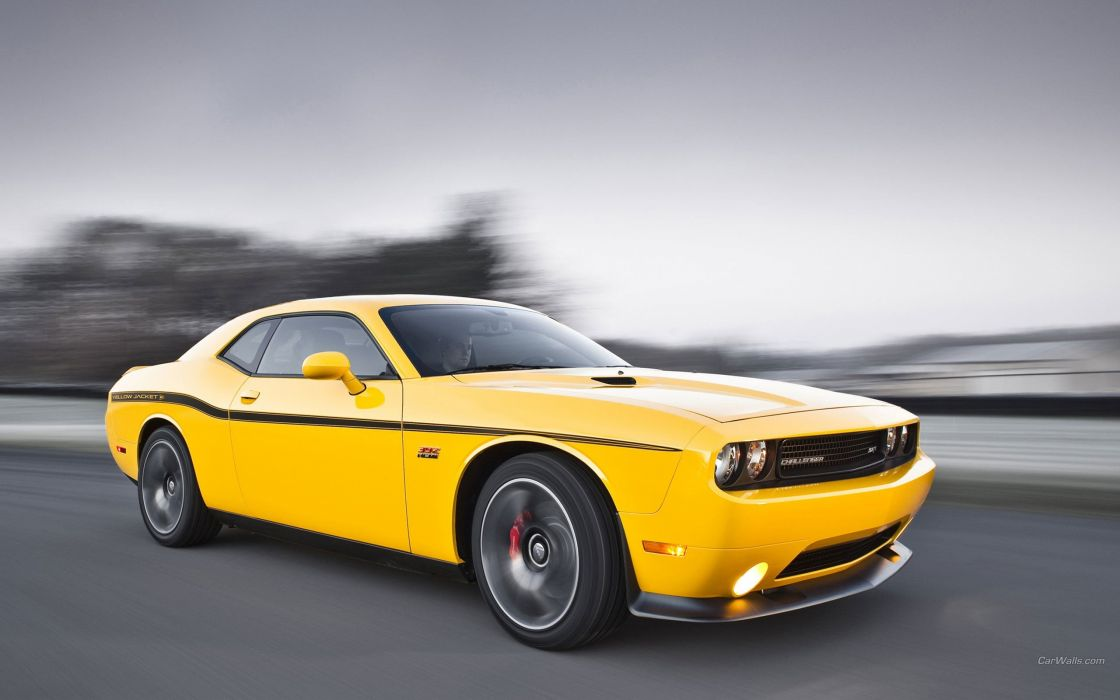 cars Dodge Challenger Dodge Challenger SRT8 Black and Yellow wallpaper