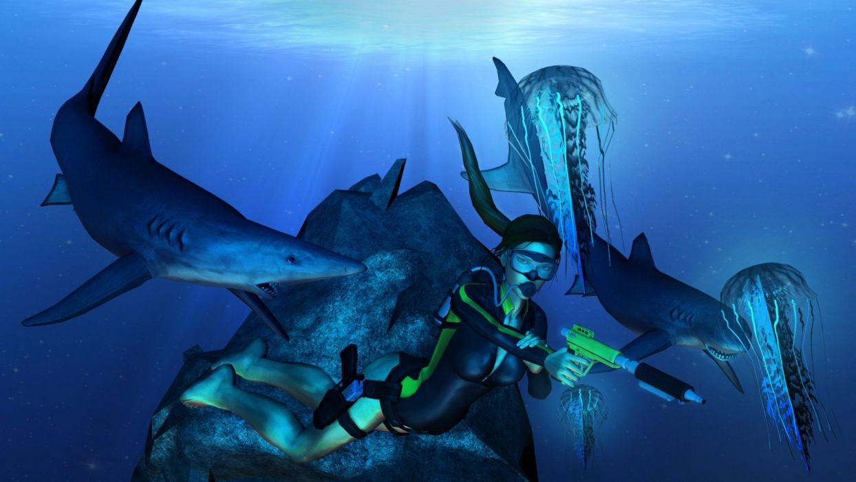 legs women water video games guns animals Tomb Raider video sharks jellyfish underwater game dangerous wallpaper